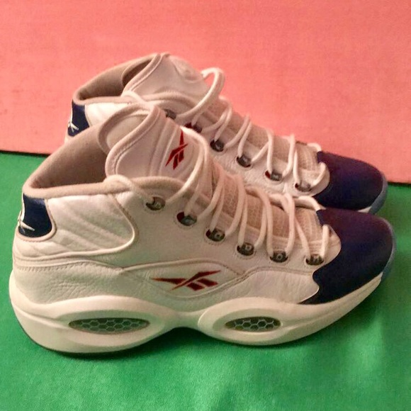 164898c6c0af Men s Allen Iverson Reebok Question Mid  Blue Toe .  M 5a4ec2ec2ab8c5c7f200da10